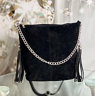 Черная замшевая сумка мешок женская на плечо вместительная замшевая женская натуральная замша+кожзам, фото 1