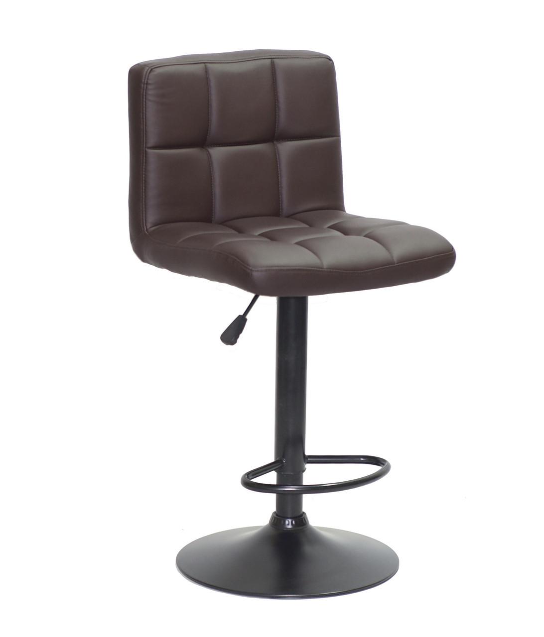 Барное кресло на черном основании шоколадного цвета из эко-кожи Arno BK - Base в кафе и салоны с подставкой