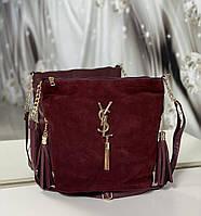 Замшевая бордовая сумка мешок женская на плечо вместительная сумочка натуральная замша+кожзам