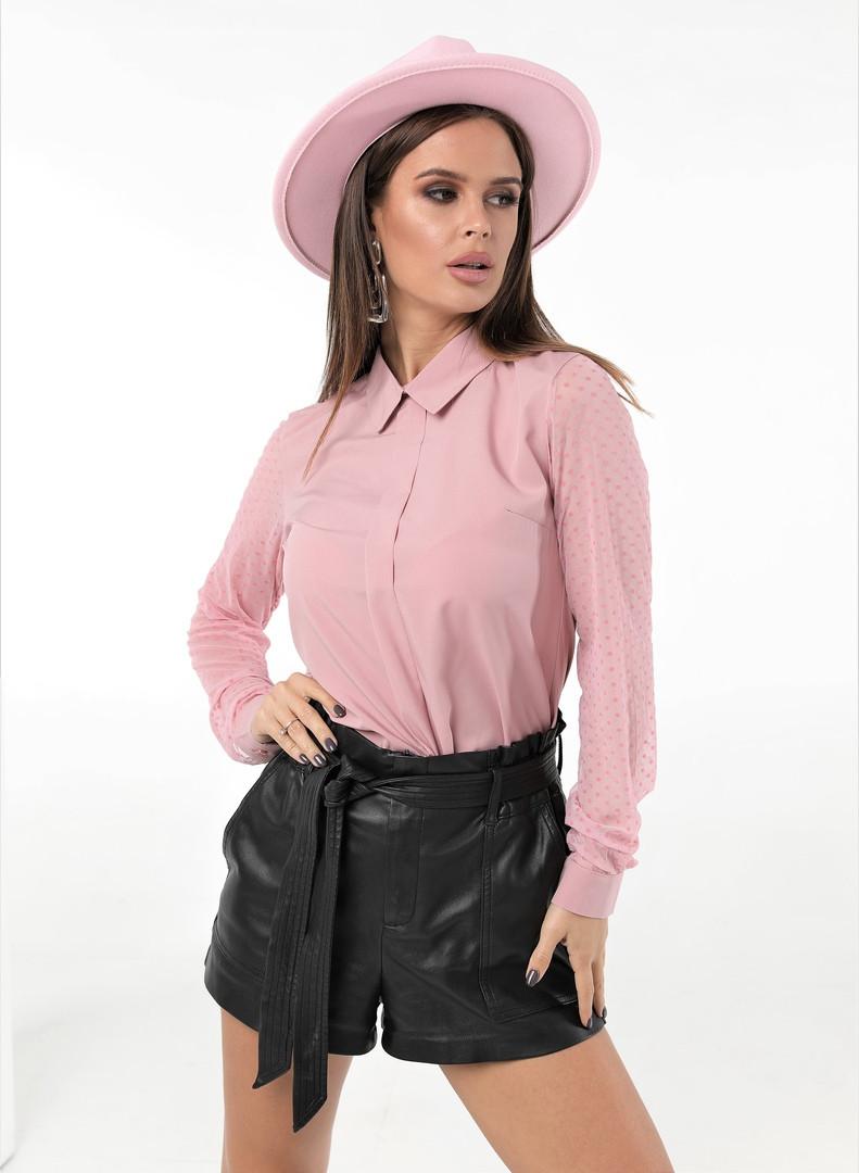 Женская стильная рубашка длинный рукав ткань софт+сетка рукав размер: 42, 44, 46,48