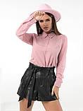 Женская стильная рубашка длинный рукав ткань софт+сетка рукав размер: 42, 44, 46,48, фото 3