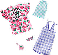 Барби одежда Barbie Clothes, 2 Outfits Doll Include a Strawberry-Print Dress