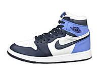 """Кроссовки зимние кожаные женские Nike Air Jordan """"Белые с синим и голубым"""" р. 36-41"""