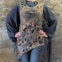 Валяная туника из шерсти тонкого мериноса и натурального шелка мокрое валяние нунофелт, подарок девушке, фото 1