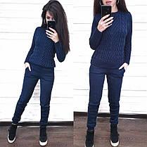 Костюм теплий в'язаний штани і кофта шерсть, фото 3
