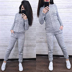 Костюм теплый женский вязаный штаны и кофта