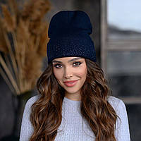 В'язана шапка «Сієна» колір синій