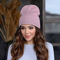 В'язана шапка «Сієна» колір темна пудра