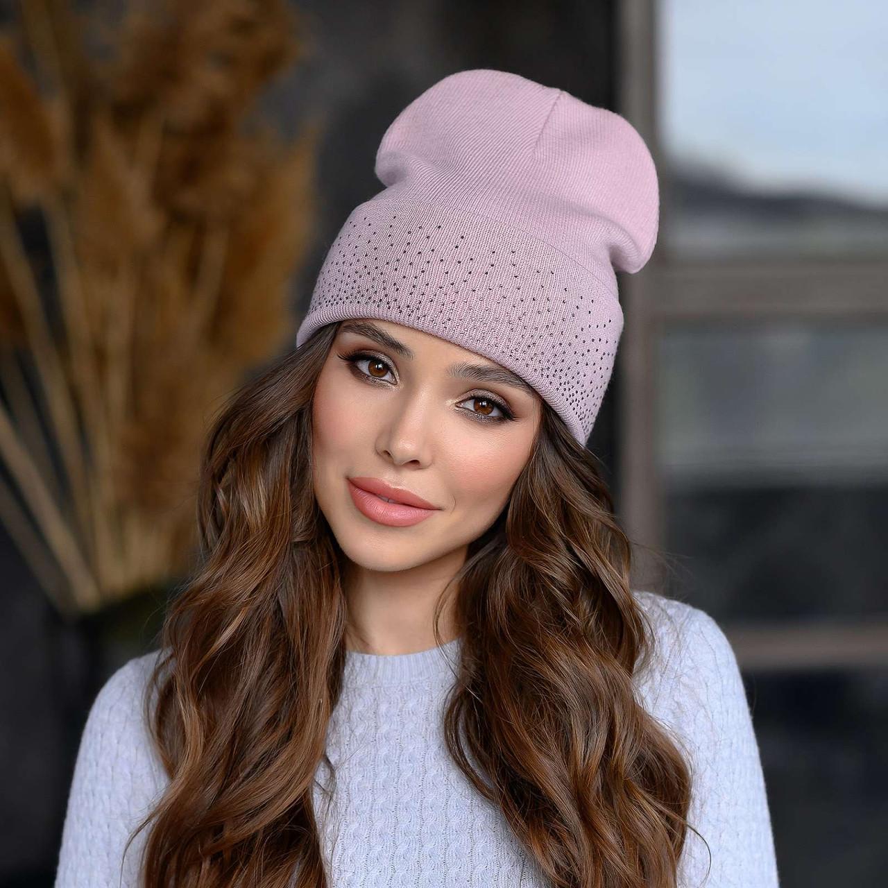 Вязанная шапка «Сиена» цвет пудра