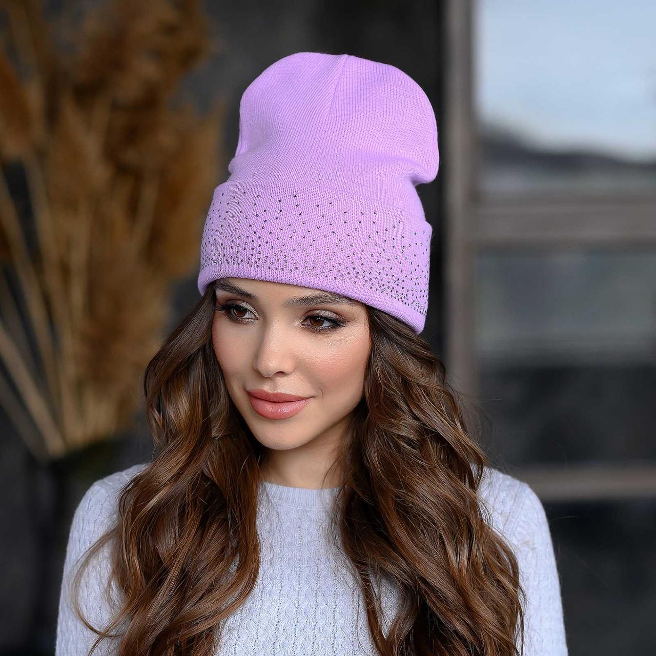 В'язана шапка «Сієна» колір бузок