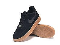"""Зимние замшевые мужские кроссовки с мехом Nike Air Force  """"Черные"""" р. 41-45, фото 1"""