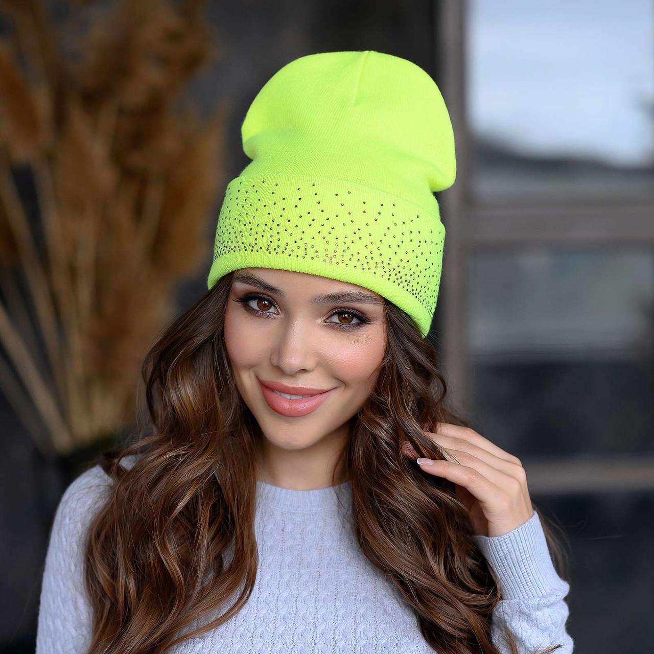 В'язана шапка «Сієна» колір лимонний неон