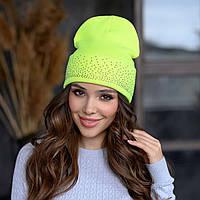 Вязанная шапка «Сиена» цвет лимонный неон
