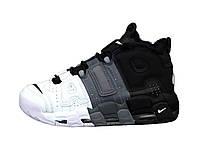 """Зимние кожаные мужские кроссовки с мехом Nike Air More Uptempo  """"Черные с белым"""" р. 41-45"""