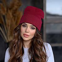 Вязанная шапка «Сиена» цвет марсала