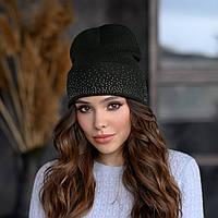 В'язана шапка «Сієна» колір хакі