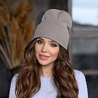 В'язана шапка «Сієна» колір мокко