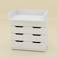 Комод Пеленальный в спальню на 3 ящика с пеленатором, комоды для вещей в детскую 85х51х93 см белый Компанит