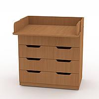 Комод Пеленальный в спальню на 3 ящика с пеленатором, комоды для вещей в детскую 85х51х93 см бук Компанит