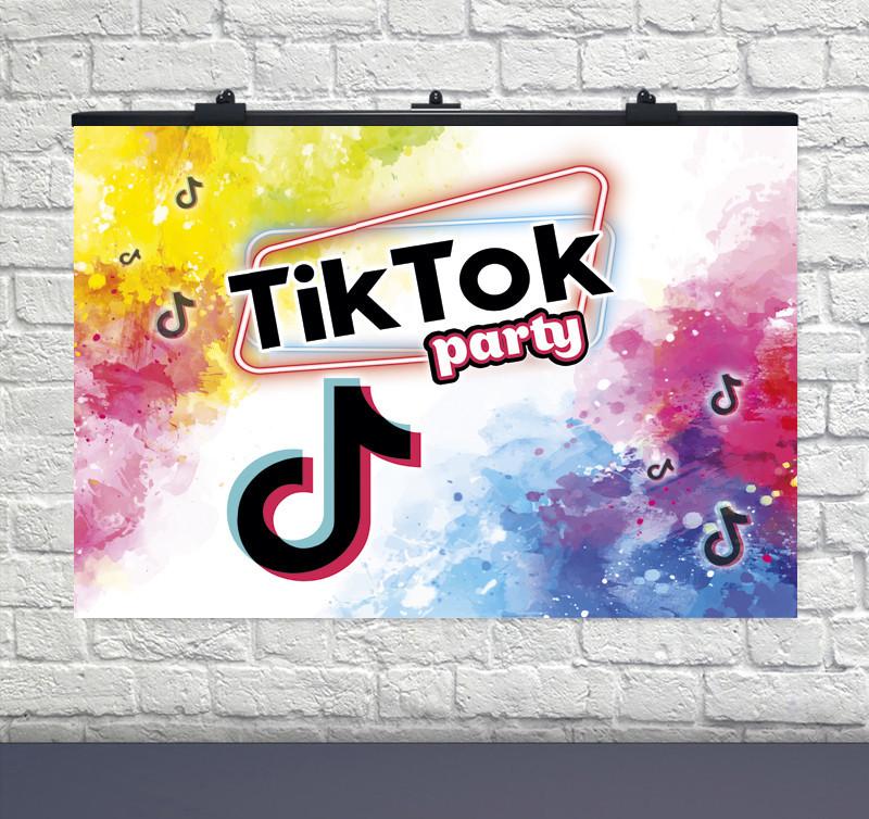"""Плакат для праздника """"TikTok Party"""" ТикТок  75 СМ Х 120 СМ"""