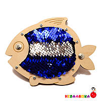 Заготовка для Бизиборда Рыбка с Пайетками Серебро и Синий Пайетки Блестяшки рибка з паєтками для бізіборда, фото 1