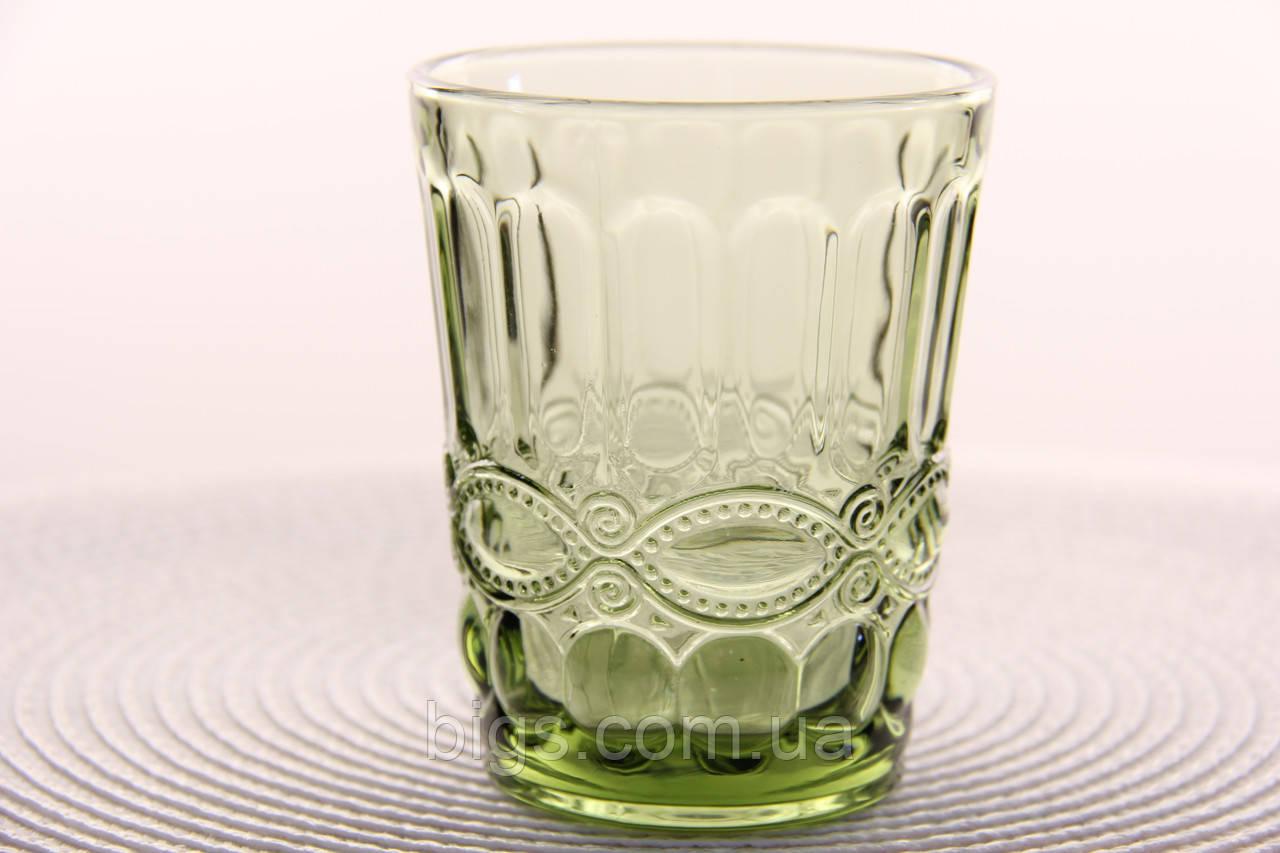 """Стеклянные стаканы набор 6шт, 250мл """"Винтаж"""" зеленые"""