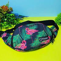 Стильна жіноча сумка на пояс (бананка для дівчинки фламінго) Tiger