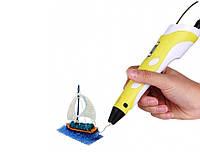 3D ручка c LCD дисплеем и набором эко пластика для 3Д рисования Pen 2 Желтый