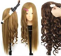 Учебная голова манекен для причёсок наращивания макияжа (штатив в комплекте) 75 %нат.вол.