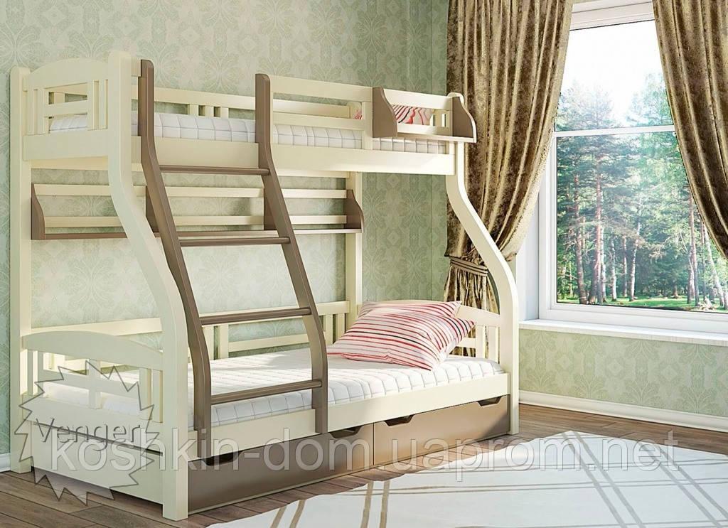 Двухъярусная кровать Светлана 80/120*200 с ящиками, из натурального дерева (детская, трансформер)