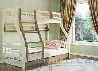 Двох'ярусне ліжко Світлана 80/120*200 з шухлядами, з натуральної деревини