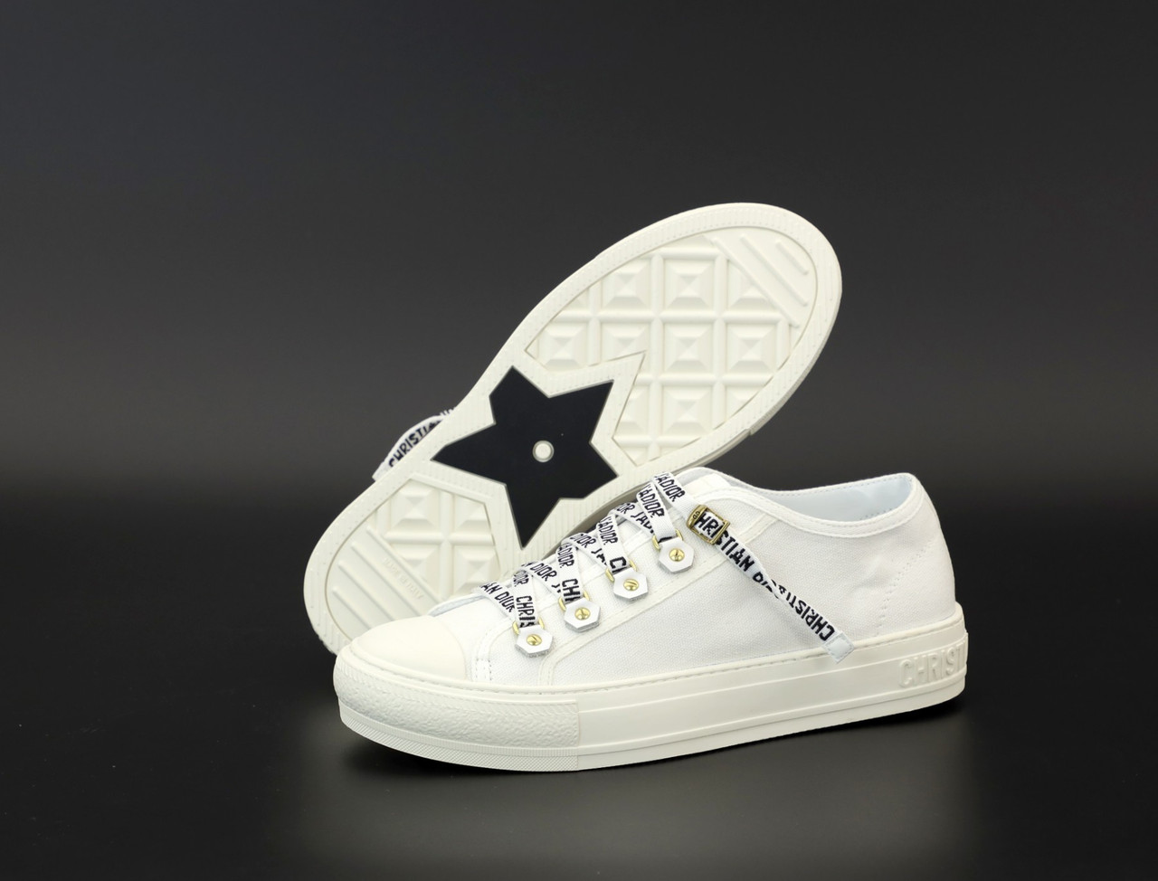 Женские кеды кроссовки Dior Sneakers. White ТОП реплика ААА класса.