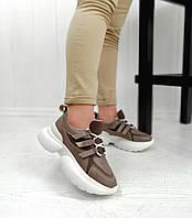 Бежеві стильні кросівки на білій платформі, фото 1