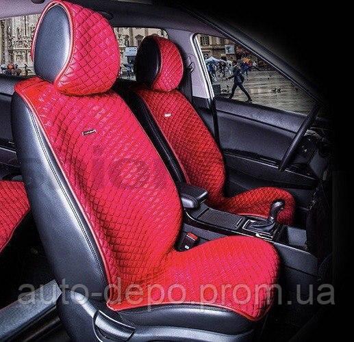 Накидки LUX на передние сидения ( бордовый ромб )