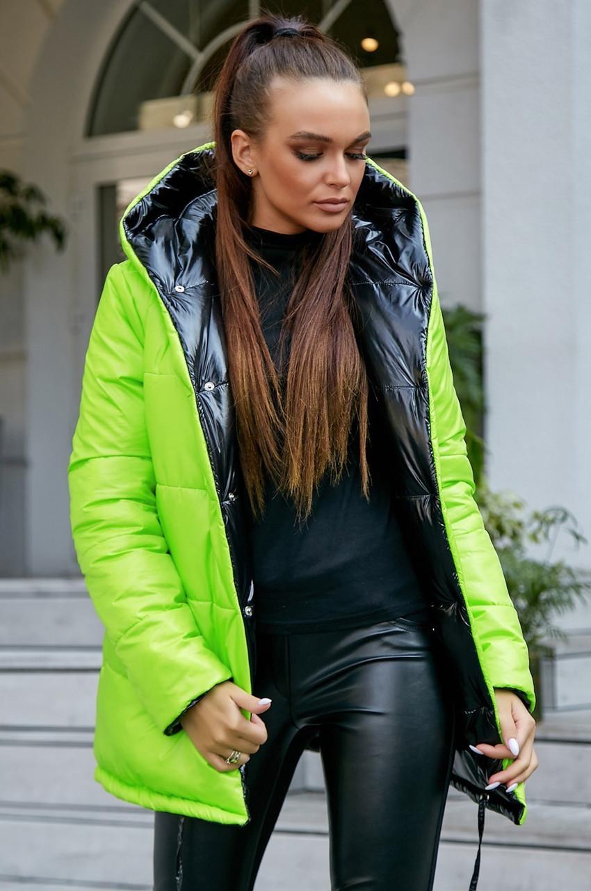 Молодіжна ДВОСТОРОННЯ куртка з капюшоном Неонова S, M, L, XL розмір