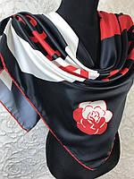 Шелковый брендовый черный платок с логотипом