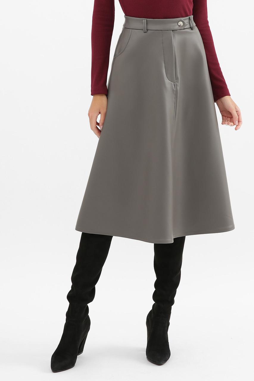 Кожаная серая юбка