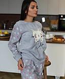 Тепла піжама сірого кольору,велсофт, фото 2