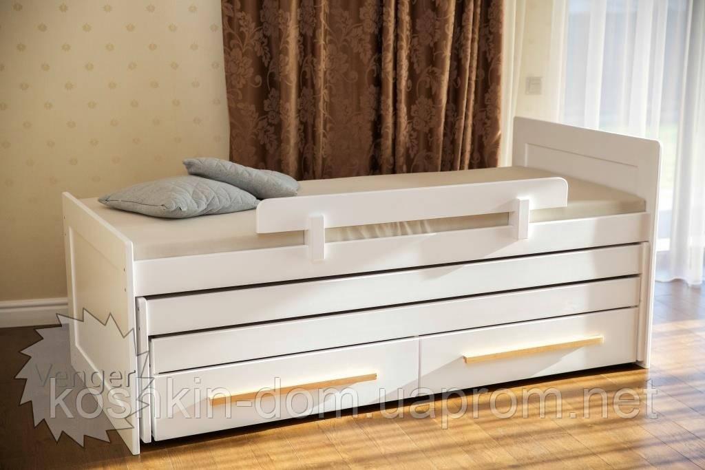 Кровать трансформер Николь трехъярусная  с ящиками, из натурального дерева