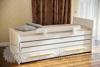 Ліжко трансформер Ніколь триярусна з шухлядами, з натуральної деревини