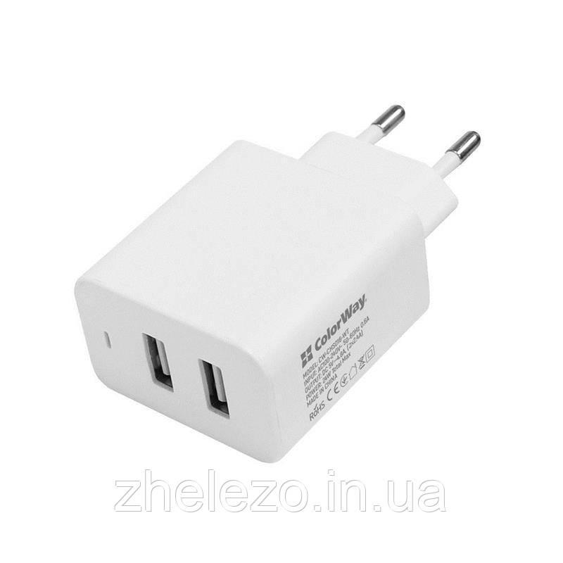 Мережевий зарядний пристрій ColorWay AutoID (2USBx2.4A) White (CW-CHS016-WT)