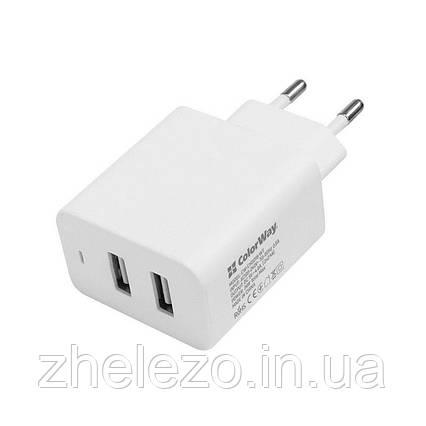 Мережевий зарядний пристрій ColorWay AutoID (2USBx2.4A) White (CW-CHS016-WT), фото 2