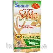 NutraLife, The Original SAM-e (S-аденозил-L-метионин), 400 мг, 30 таблеток в кишечнорастворимой оболочке