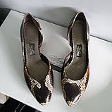 Жіночі туфлі з пітона на товстому невисокому каблуці, фото 2