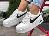 Кросівки жіночі Nike Air Force білі з чорним, фото 3