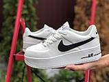 Кросівки жіночі Nike Air Force білі з чорним, фото 5
