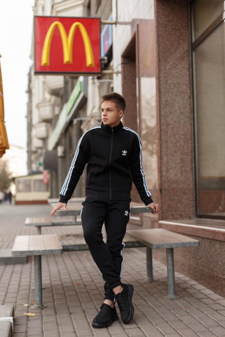 Мужской зимний теплый спортивный костюм Adidas на флисе - DONE