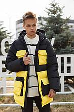 Мужская зимняя куртка-пуховик черная с желтым