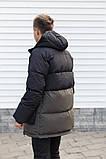 Мужская зимняя куртка-пуховик черная с серым, фото 2