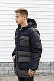 Мужская зимняя куртка-пуховик черная с серым, фото 4